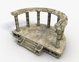 3D model Low poly temple altar