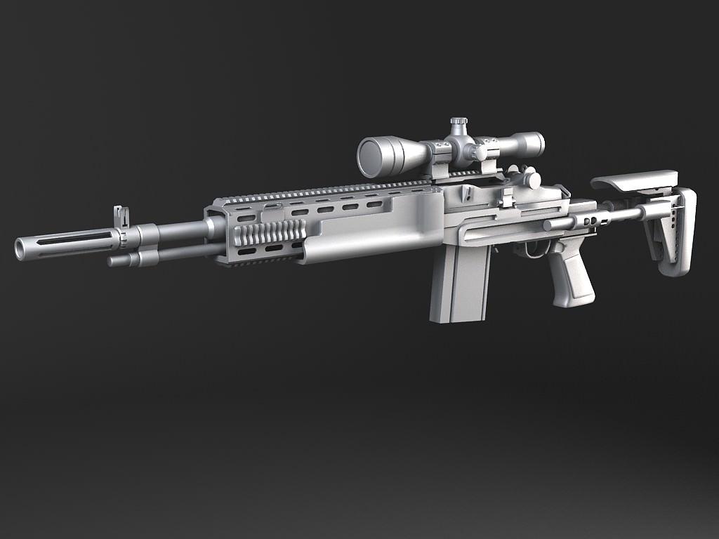 M14 EBR sniper rifle 3D Model MAX OBJ 3DS FBX C4D LWO LW ... M14 Ebr Rifle