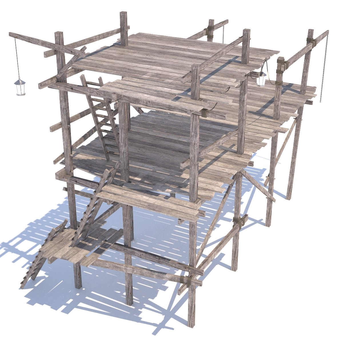 Old Wooden Scaffolding 3d Model Obj 3ds Fbx Hrc Xsi