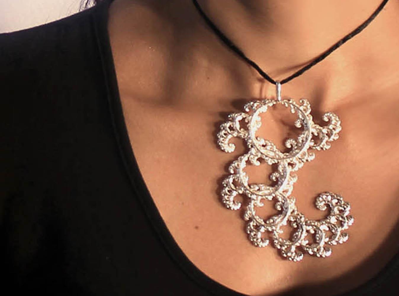 intricate spirals fractal lace pendant 3d model 3d
