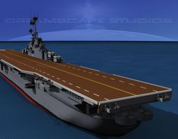 3d animated essex class aircraft carrier cv-9 uss essex