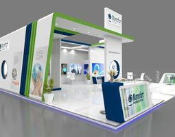 Exhibition stall 3d model 12x10 mtr 3 sides open Pharma