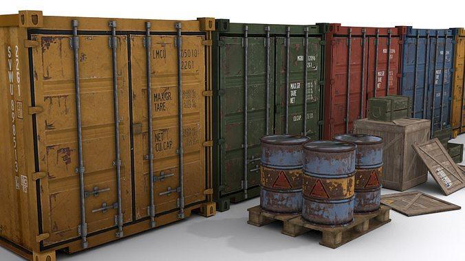 cargo asset set 3d model low-poly max obj mtl 3ds fbx tga 1