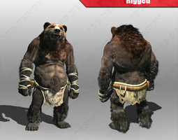 realtime rigged 3d model bear man