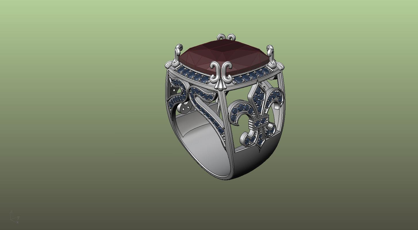 Ring Fleur De Lis 3d Model 3d Printable Stl 3dm