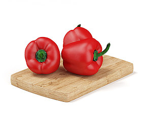 3D Red Peppers on Wooden Board