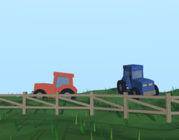 low-poly american farm 3d model rigged