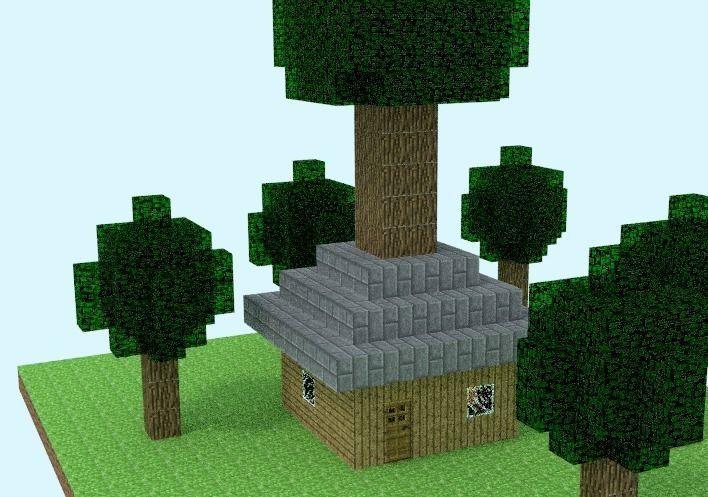 Minecraft Tree House 3d Model