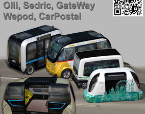 Driverless Electric bus pack 3D model