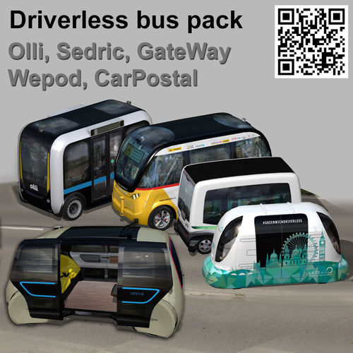 driverless electric bus pack 3d model low-poly animated max obj mtl 3ds fbx stl 1