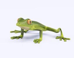 3d model green frog