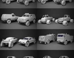 Off-road racing cars collrction 3D asset