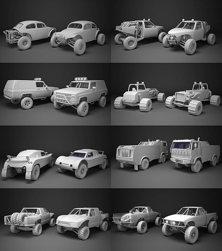 off-road racing cars collrction 3d model low-poly max obj mtl fbx 1