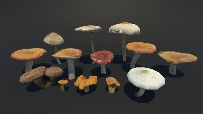 forest mushrooms vol 2 3d model fbx 1