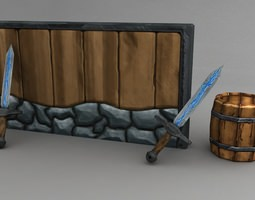 3d asset game-ready cartoony medieval game models