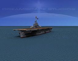 3d model essex class aircraft carrier cv-17 uss bunker hill animated