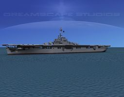essex class aircraft carrier cv-18 uss wasp animated 3d model
