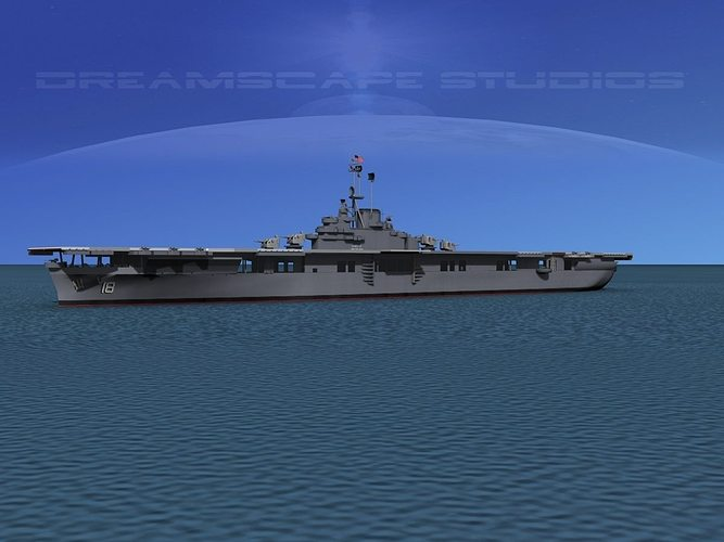essex class aircraft carrier cv-18 uss wasp 3d model rigged animated max obj 3ds lwo lw lws dxf stl 1
