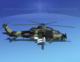 WZ-10 Attack Helicopter V02 3D Model