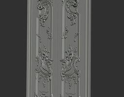Carved door 3D print model pediment