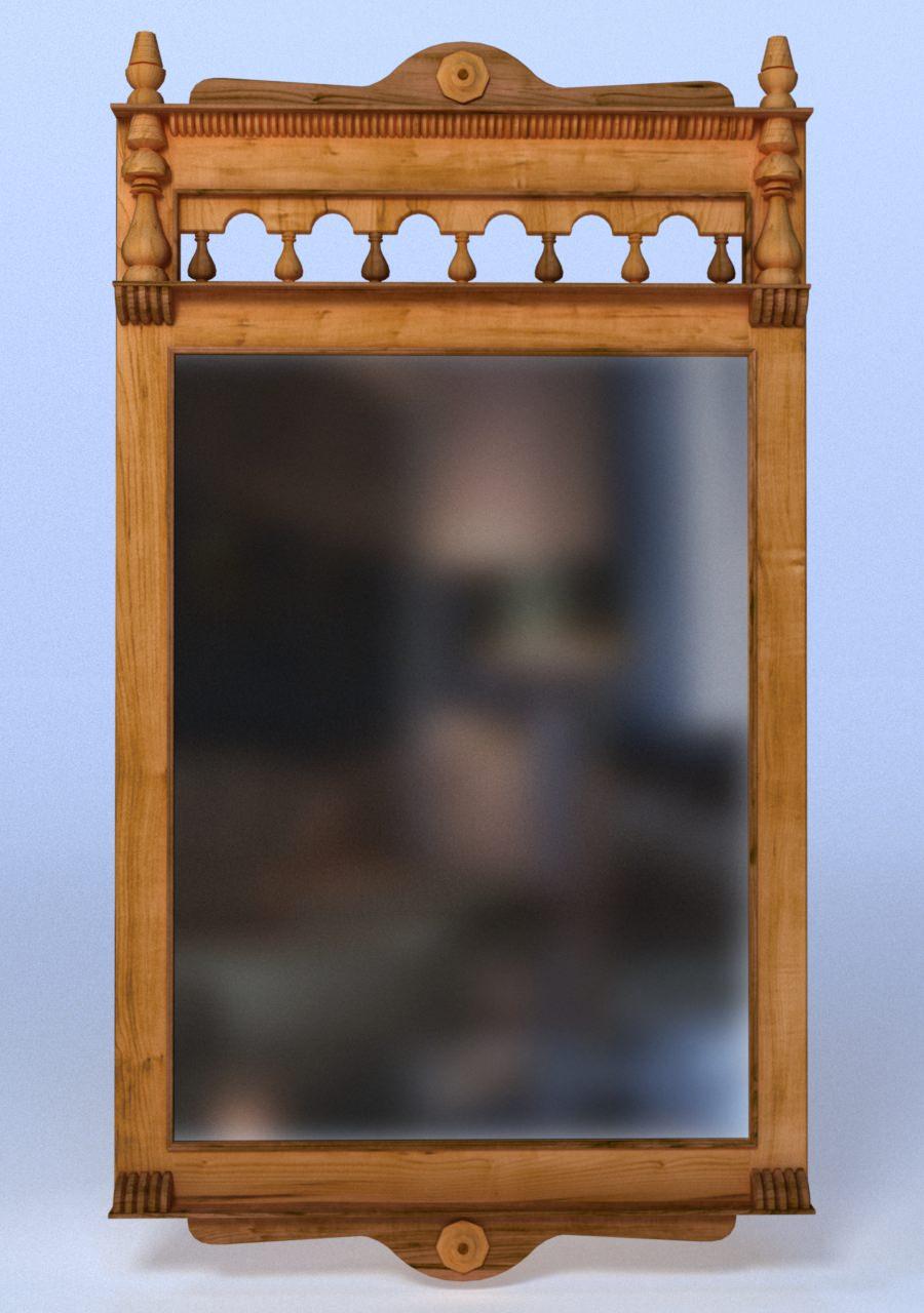 Wooden wall mirror 3d model obj fbx ma mb dae for Mirror 3d model