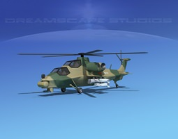 WZ-10 Attack Helicopter V03 3D Model
