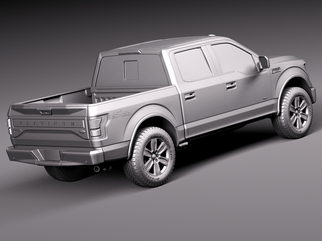 ford f150 platinum crew cab 2015 3d model max obj 3ds fbx c4d lwo lw lws. Black Bedroom Furniture Sets. Home Design Ideas