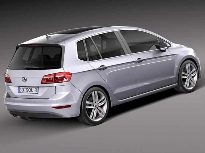 Volkswagen Golf Sportsvan 2015 3D Model MAX OBJ 3DS FBX C4D LWO LW LWS ...