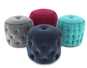 3D model wrinkles Pouf collection