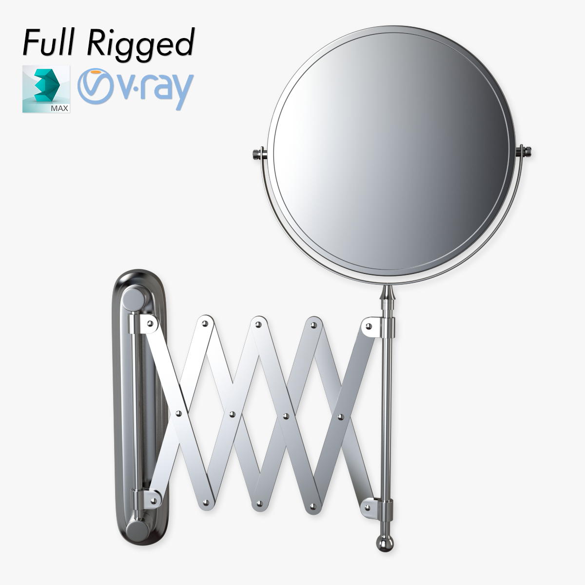 Scissor Wall Mirror Rigged 3d Model Animated Max Obj Fbx 5