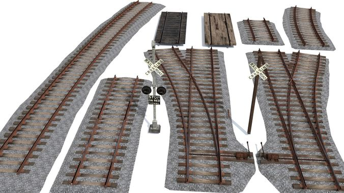 railroad track pack 3d model low-poly fbx blend 1