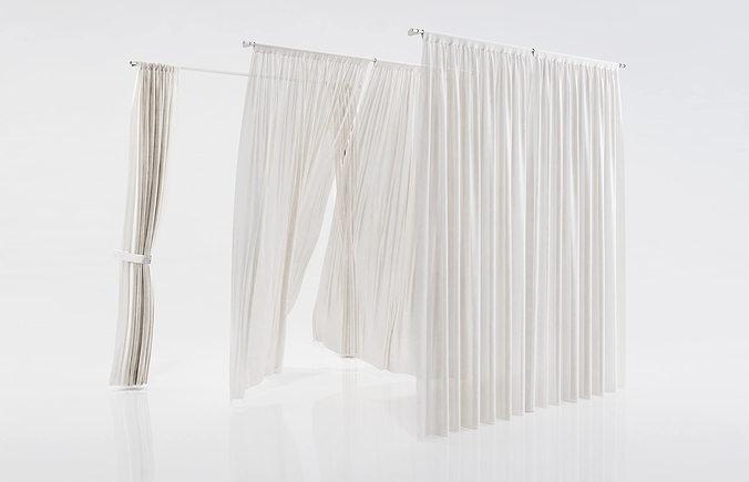 white see through window curtains 3d model max obj mtl fbx c4d 1