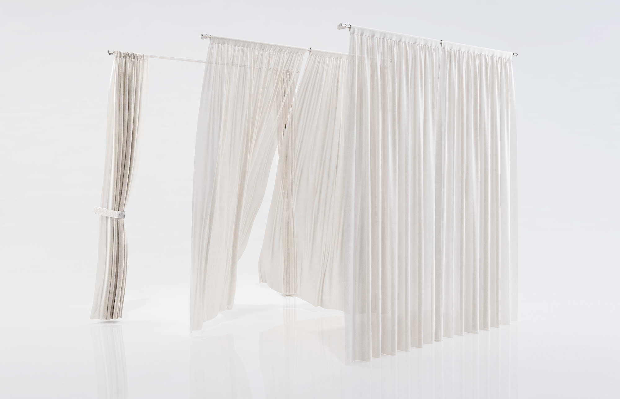 White See Through Window Curtains 3d Model