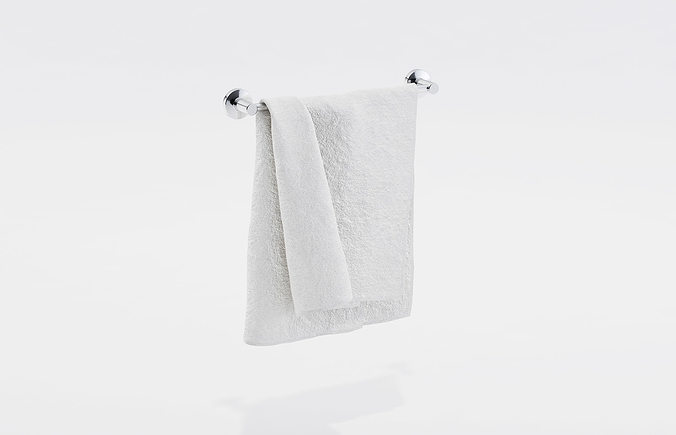 White towel on a rack 3D | CGTrader