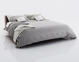 bed linen with blankets 3d model