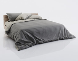 dark and grey bed linen 3d
