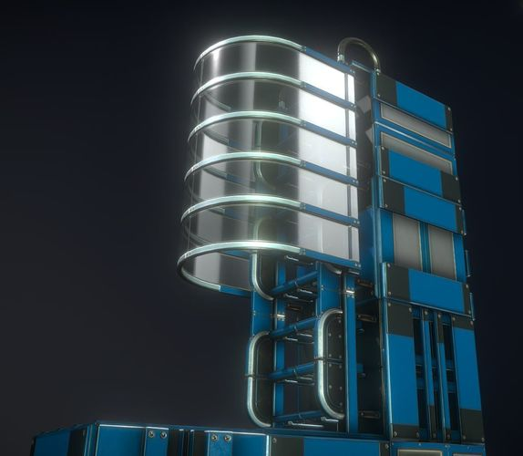 futuristic ladder collection blue version 3d model low-poly obj mtl 3ds fbx stl blend dae 1