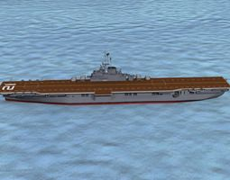 ticonderoga class carrier cv-21 uss boxer 3d model animated