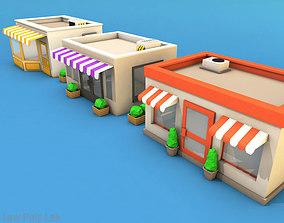 3D model Cartoon City Buildings Shops