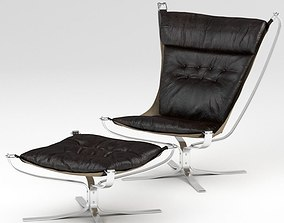 3D model Brown Black Leather Chair