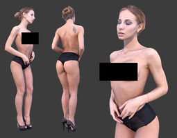 3D asset realtime Topless Woman