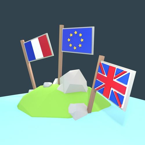 stylized low poly flags - exit eu package 3d model low-poly fbx blend 1