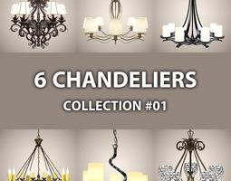 6 Chandeliers 01 3D Model