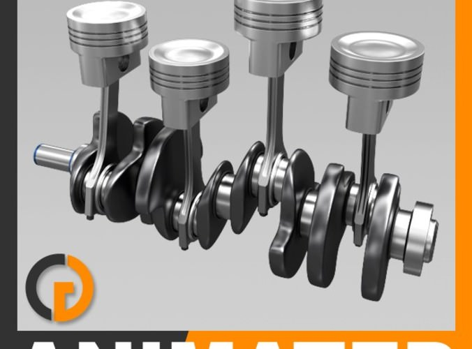 Animated L4 Engine Cylinders3D model