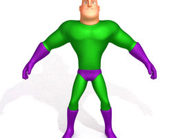 Superhero Cartoon 04 3D model