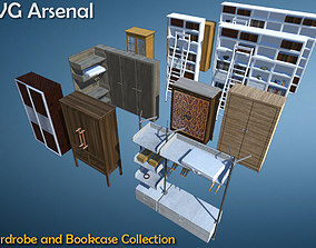 3D asset Wardrobe and Bookcase Collection - HQ