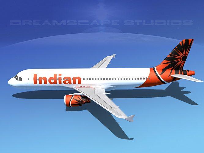 airbus a320 lp air india 3d model low-poly max obj mtl 3ds fbx lwo lw lws dxf 1