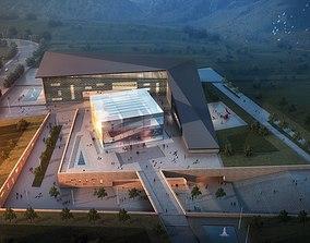 Modern museum building 002 3D