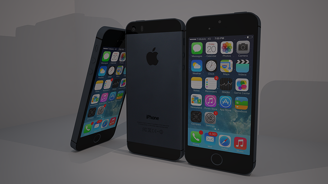 iphone 5s 3d model obj 3ds c4d dae 1
