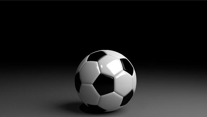 black and white football 3d model blend 1